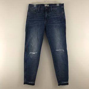 """Madewell 9"""" High Rise Skinny Rip Repair Jeans 31P"""